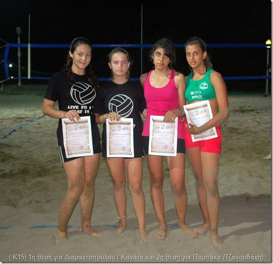 οι νικήτριες στο  Κ15 (από αριστερά: 1η θέση για Κλειώ Διαμαντοπούλου και Ανθή Κανάτα και 2η θέση για Μαρία Παμπάκα και Κατερίνα Τζανουδάκη)